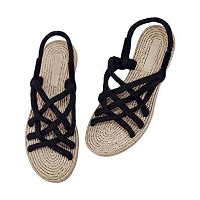 bec483a25306 ZooBoo Rope Straw Sandals Shoes - Traditional Handmade Hemp Cosplay  Non-Slip Flip Flops Clogs