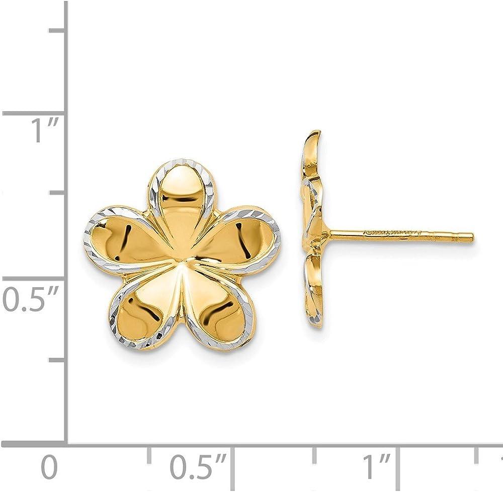 Leslies Real 14kt w//Rhodium Flower Post Earrings