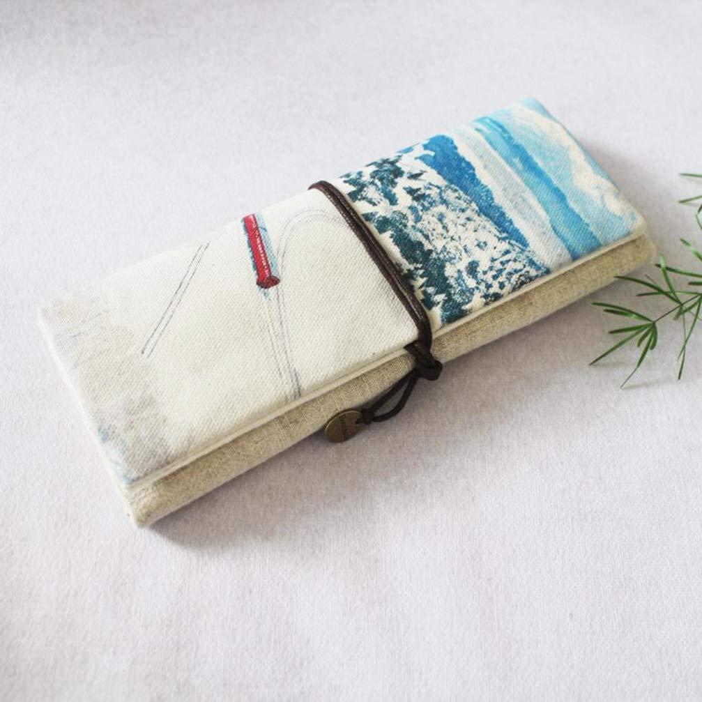ToiM - Estuche de papelería de lona para lápices, estuche, estuche de lápices, bolso para lápices, bolso de maquillaje, estuche de maquillaje