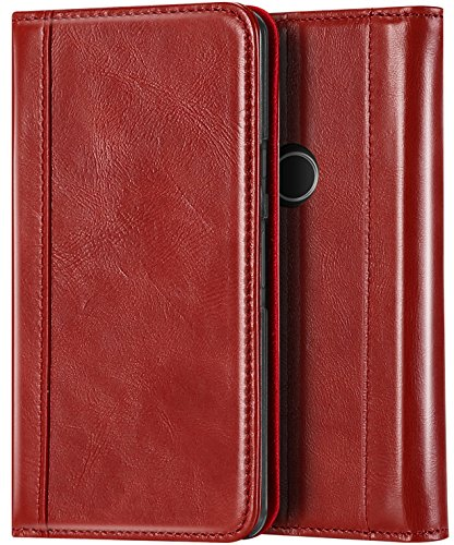 ProCase Genuine Leather Case for Pixel 3 XL, Vintage Wallet Folding Flip Case with Kickstand Card Holder Protective Cover for Google Pixel 3XL (2018 Release) -Red