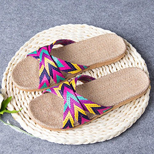 Summer Indoor Hunpta slip Toe Home Purple Men Slippers Open Flats Women Anti Linen Shoes 00YSaqZ