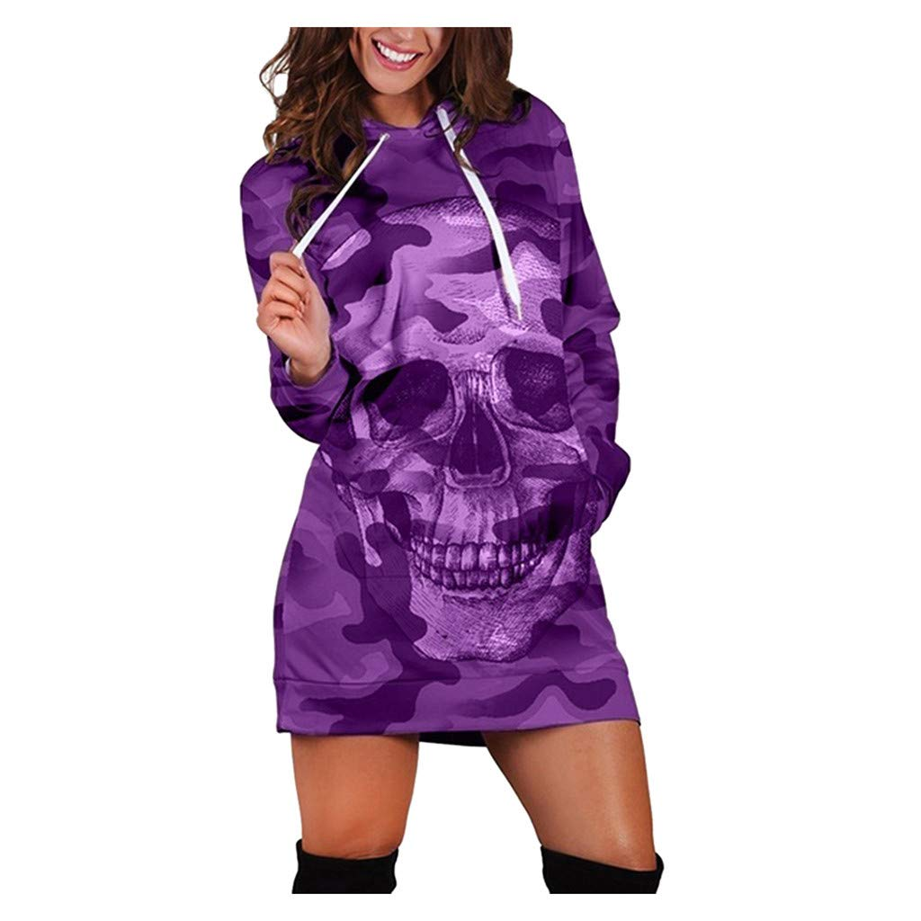 WUAI-Women Hoodie Casual Camouflag Tunic Sweatshirt Dress Skull Print Mini Dress(Purple,Small by WUAI-Women