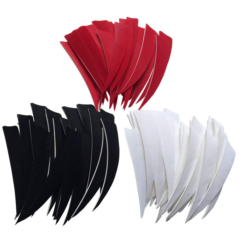 ONTFIHS 100PCS 4'' Archery Fletches Black Red and White Shield Cut Arrows Feather Fletching 4inch- Right Wing (White) by ONTFIHS