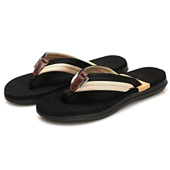 6213bce693f Amazon.com  Men s Beach Shoes HOSOME Men Casual Flat Flip Flops Slippers  Outdoor Antiskid Shoes  Clothing