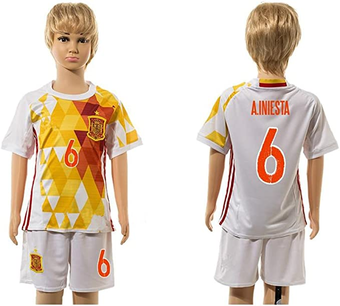 Top Venta de España 6 Andres Iniesta Away para niños Kid jóvenes conjuntos de camiseta de fútbol en blanco, Infantil, blanco, small: Amazon.es: Deportes y aire libre