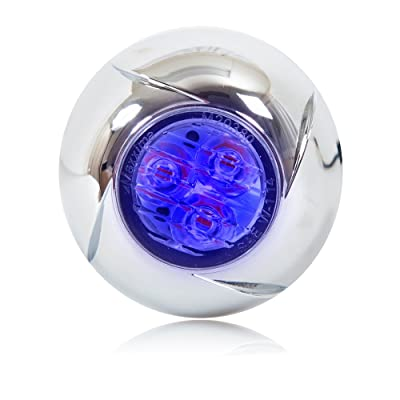 """Maxxima M20380BCL-SP Blue 1.8"""" Round 3 LED Strobe Light with Clear Lens: Automotive"""