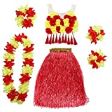 Echolife 6pcs/Set Women's Hawaiian Luau Grass Hula Skirt with Flowers Tank Top (Red and Yellow)