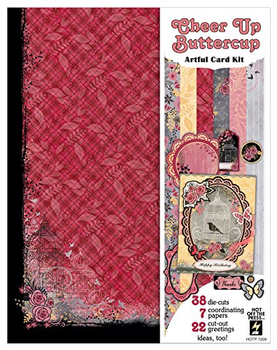 (Cheer Up Buttercup Artful Card Kit by Hot Off The Press | 63 Piece Coordinated Collection Including 7 Single-Sided Papers, 34 Die-Cuts on Two 8