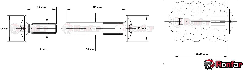 RONFAR M/öbelschrauben H/ülsenschrauben Verbindungsschraube mit H/ülse Stahl vernickelt M6 x 31-40 mm 100 St/ück