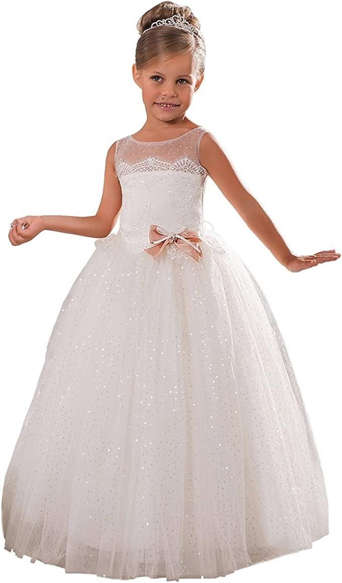 Aurora Dresses Aurora Dresses Madchen Blumenmadchen Kleider Pailletten Prinzessin Kleid Hochzeit Partykleid Festlich Kleider Kommunionkleid Kleider Amazon De Bekleidung