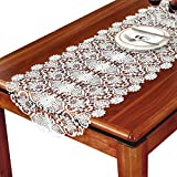 TaiXiuHome White Classic European Style Hollow Embroidery Lace Table Runner Table flags Translucent Gauze Wedding Party Decoration 20 x 60 inch approx