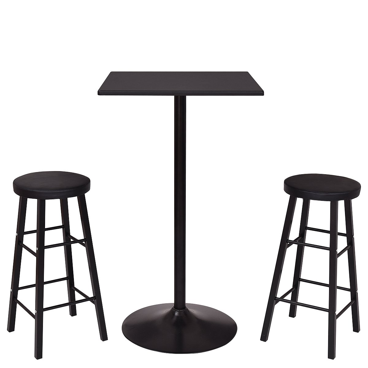 Costway 3-Piece Bar Stool Table Set Bistro Kitchen Dining Furniture (Square bar table)