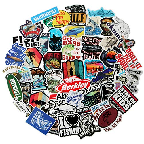 Bass Fish Sticker Decals 50 Pcs, Cool Funny Vinyl Go Fishing Stickers Bomb for Kids Snowboard Skateboard Laptop Car Bicycle Dirt-Bike Luggage Motorcycle Fishing Rod, Waterproof Aesthetic Stickers