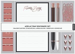 U Brands Desktop Acrylic Tray Stationery Set, Office Supplies Set, 57-Pieces (2259A04-16)
