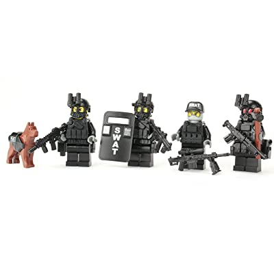 Battle Brick Police SWAT Team Custom Minifigures: Toys & Games