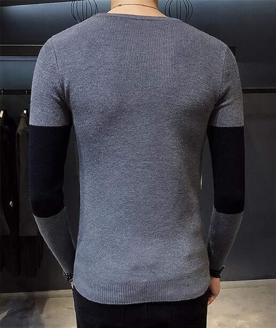 SELX Men Long Sleeve O Neck Knitwear Contrast Blouse Pullover Sweater