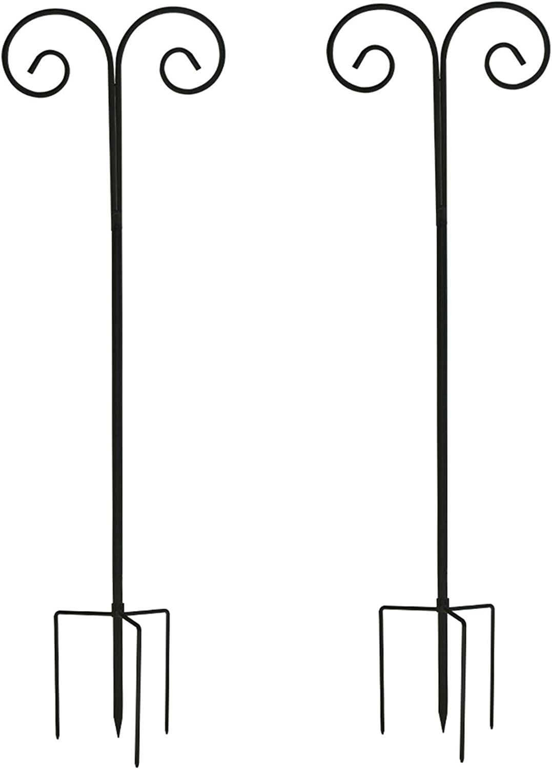 unho Double Shepherds Hook Adjustable Height 55-95in, 7/10in Thick, 2 Pack Heavy Duty Garden Pole Metal Stake Hangers for Plant Baskets, Bird Feeders, Lights and Wedding Decor(Black)