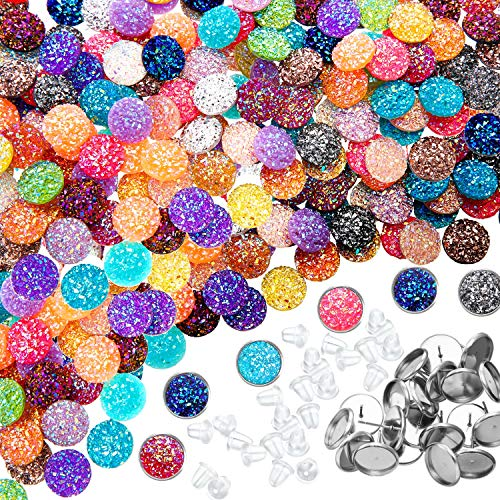200 Pieces 20 Colors 12 mm Druzy Resin Cabochons Faux Druzy Cabochons Flat Back Dome Cabochons with 20 Pieces Stainless Steel Stud Earring for Jewelry Making, DIY -