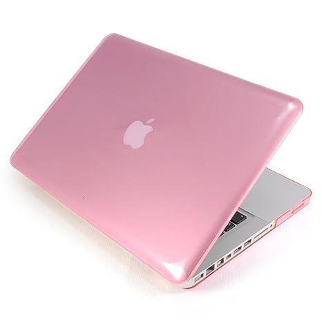 Incutex funda para ordenador portátil para Apple MacBook, rígida rosa transparente