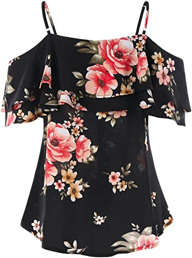 Womens Ladies Smart Black Floral Flower Print Top Tunic Short Ruffle Sleeve