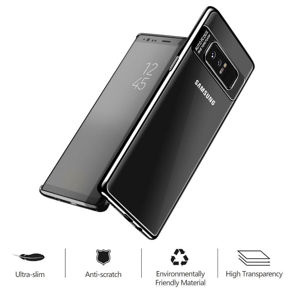 Hülle für Samsung Galaxy Note 8, Senisttech Ultra Dünn Full Protection Shockproof Schutzhülle With Electroplated Craft-Transparent TPU Silikon Handyhülle für Samsung Note 8 (Schwarz)