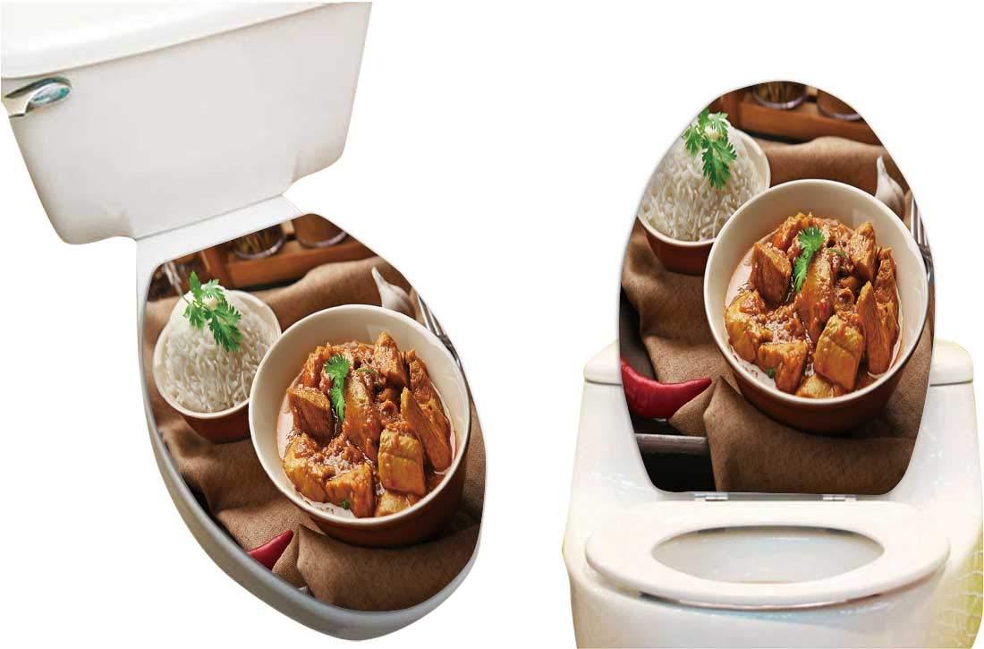 Pleasant Amazon Com Toilet Seat Sticker Tasty Dinner Chicken Curry Machost Co Dining Chair Design Ideas Machostcouk