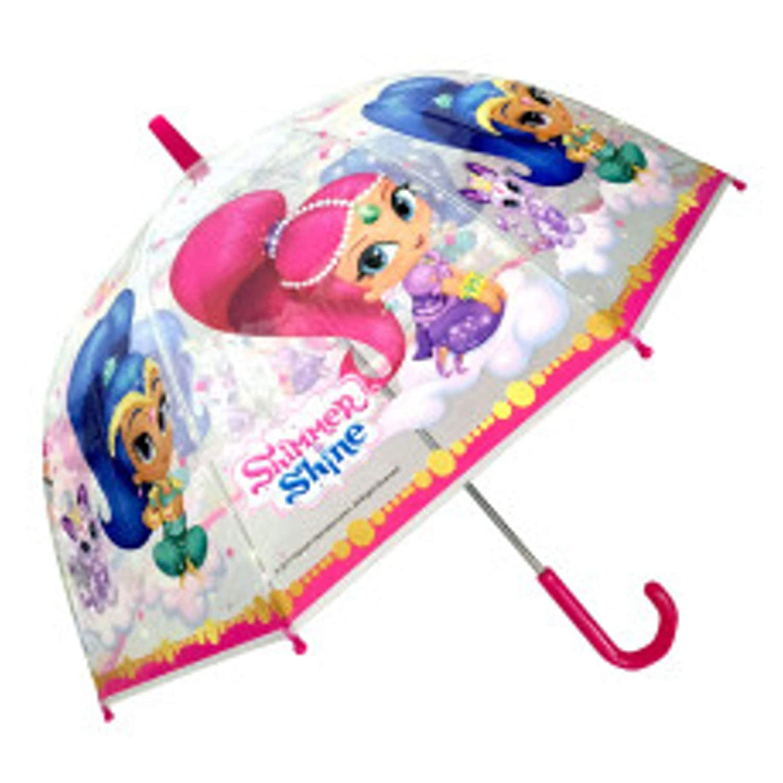 Chanos Shimmer & Shine Manual Dome Shape Poe Transparent Folding Umbrella, 48 cm, White and Pink Chanos_46827
