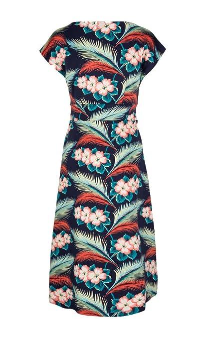 King Louie LOT Vintage Tropical FLOWER Blumen LAGOON Dress KLEID Rockabilly