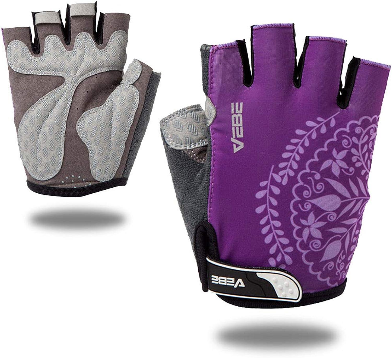 VEBE Women's Biking Cycling Gloves Non-Slip Shockproof Short Finger Gloves Outdoor Riding Mountain Bike Gloves: Clothing