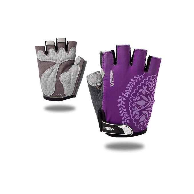 VEBE Women Biking Cycling Gloves Non-Slip Shockproof Short Finger Gloves Outdoor Riding Mountain Bike Sports Accessories