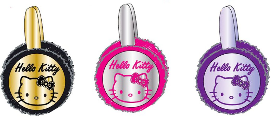 Cache orejas efecto plastificado niña Hello Kitty negro/oro tu