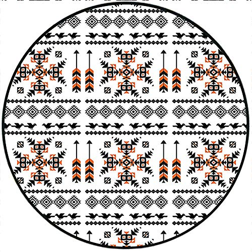 Short Plush Round Rug Ethnic Pattern Composition with Birds and Arrows Living Room Coffee Table 78.4