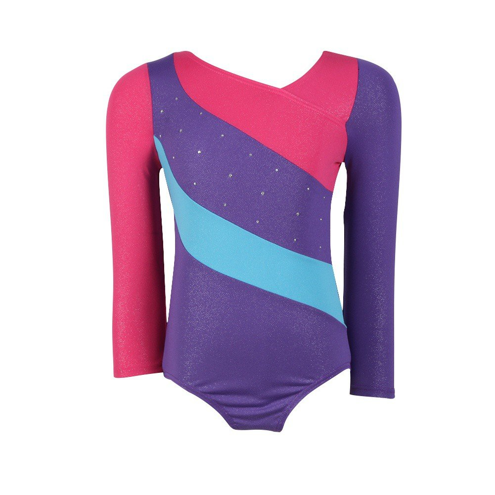 Qlan Girls One piece Long Sleeve Leotards Shinning Gymnastics Jumpsuit