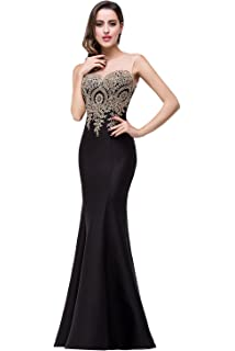 Babyonline Womens Lace Applique Long Formal Mermaid Evening Prom Dresses