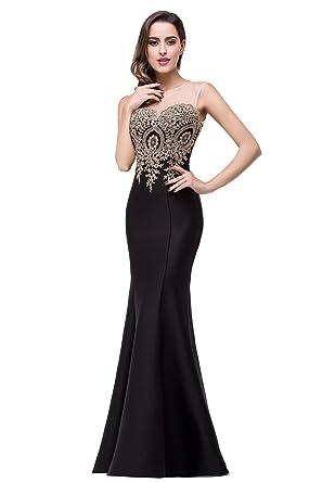 b2c429f103 Babyonline Women s Lace Applique Long Formal Mermaid Evening Prom ...