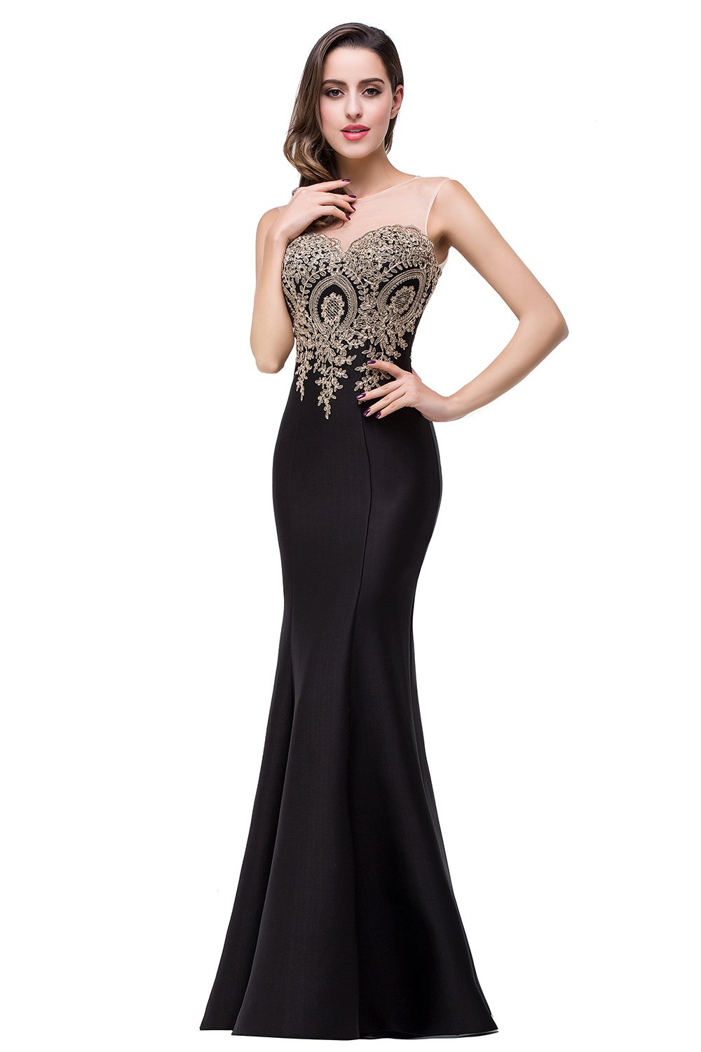 Babyonlinedress Plus Size Women's Mermaid Long Prom Dress Embroidery Evening Dresses for Party