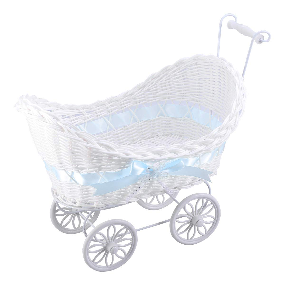 NUOBESTY Wicker Stroller Baby Shower Wedding Centerpiece Stroller Party Favors (Blue)