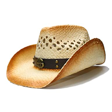 e15541dddc36c0 YWHY Women Handmade Western Cowboy Hat with Leather Band Fashion Straw  Weave Sunbonnet at Amazon Women's Clothing store: