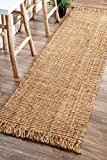 nuLOOM Natural Hand Woven Chunky Loop Jute Runner, 2' 6