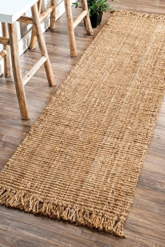 "nuLOOM Natural Hand Woven Chunky Loop Jute Runner, 2' 6"" x 8"
