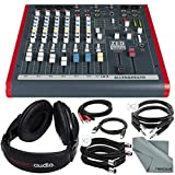 Allen & Heath ZED60-10FX 6-Channel Mixer with Digital Effects and USB I/O + Basic Bundle w/ Headphones, 6X Cables, Fibertique Cloth