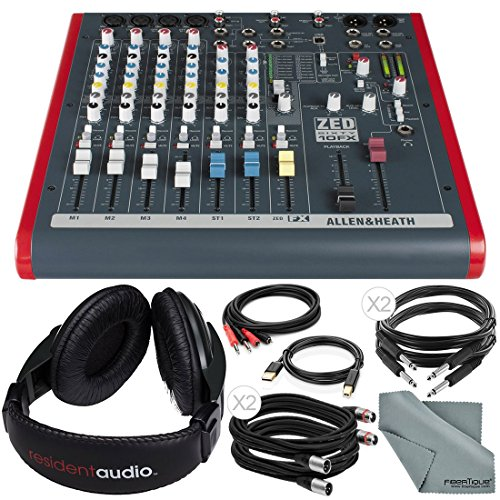 Allen & Heath ZED60-10FX 6-Channel Mixer with Digital Effects and USB I/O + Basic Bundle w/ Headphones, 6X Cables, Fibertique Cloth by Photo Savings