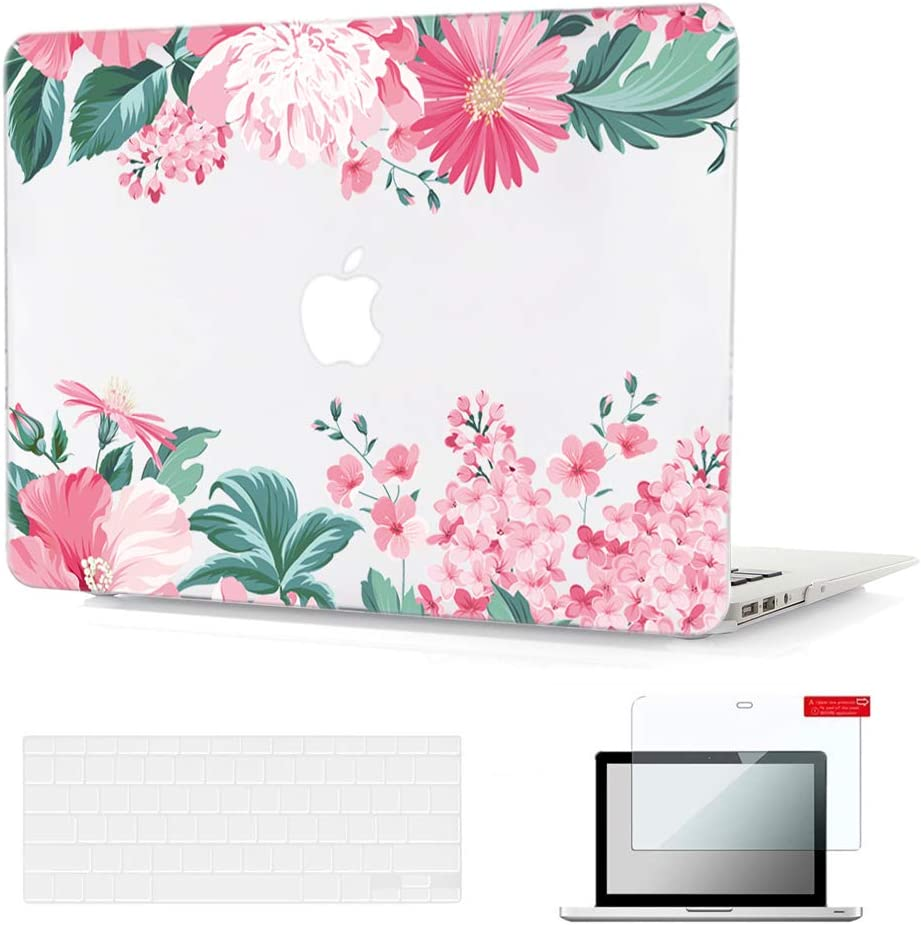 Se7enline MacBook Air Case 13 Inches 2009-2017 A1369/A1466 Laptop Covers Plastic Flower Pattern Hard Case Crystal Shell for MacBook Air 13-Inch with TPU Keyboard Cover,Screen Protector, Pink