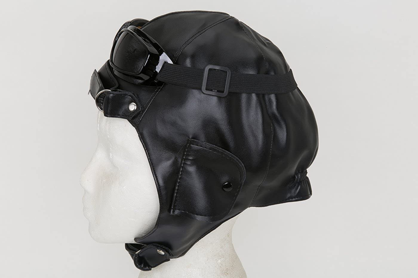 70f82ab7 Amazon.com: Jacobson Hat Company Men's Aviator Hat and Goggles, Black,  Adult: Clothing