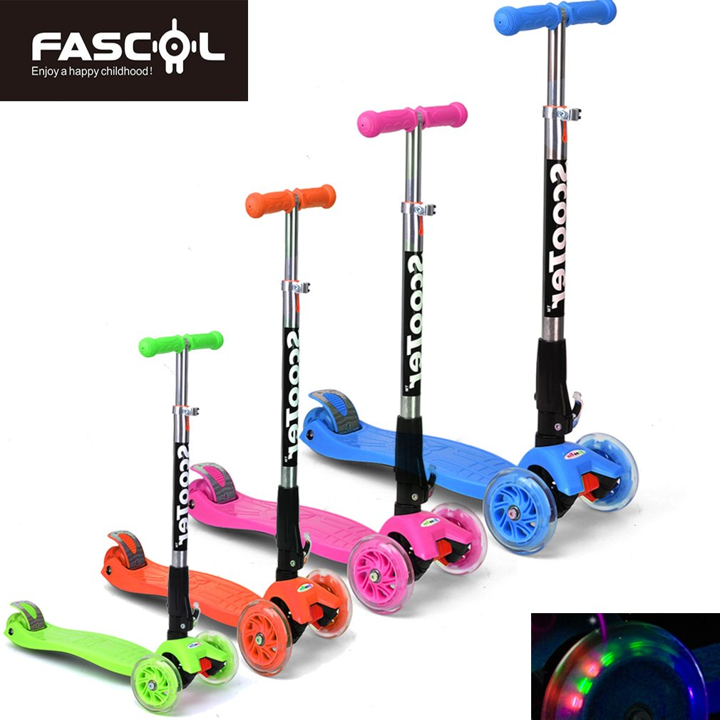 Dolami Twist & Roll Patineta de 3 ruedas para niños con luz LED freestyle mini scooter,Rosado/Azul/Graffiti(3-10 años, Máxima carga: 60 kg) + Set ...