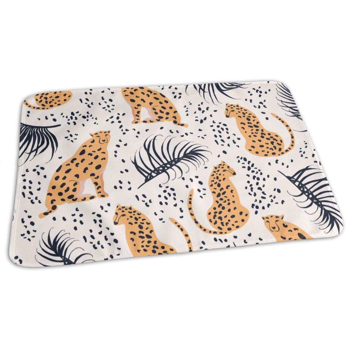 Osvbs Lovely Baby Reusable Waterproof Portable Cheetah with Palm Leaves Changing Pad Home Travel 27.5''x19.7'' by Osvbs