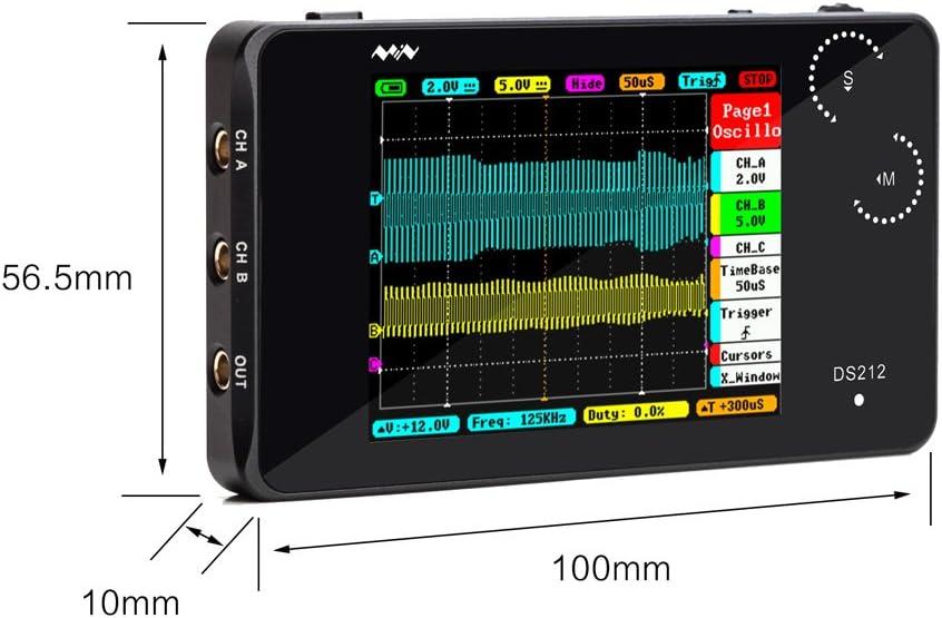 Kkmoon Digital Oszilloskop Ds212 Dso 2 Kanal Taschenformat Usb Schnittstelle 2 8 Vollfarb Tft Display 8mb Speicherbandbreite 1 Mhz Abtastrate 10msa S Baumarkt