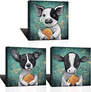 LoveHouse Funny Animal Canvas Prints Wall Art Cute Black and White Pig Dog Cow Hold a Yellow Pineapple Abstract Animal Wall Decor for Nursery Kids Bedroom Bathroom Home Decoration 12