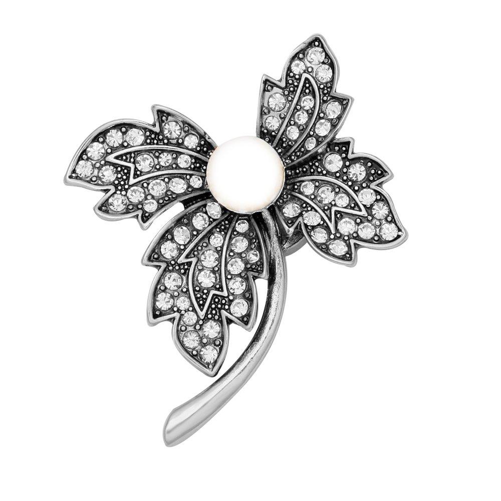 SENFAI 4 Crystal Leaf Simulated Pearl Magnetic Collar Brooch (Antique silver)