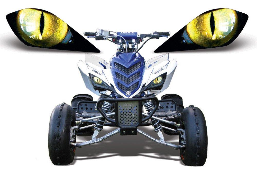 AMR Racing ATV Headlight Eye Graphic Decal Cover for Yamaha Raptor 700/250/350 - Eclipse Yellow